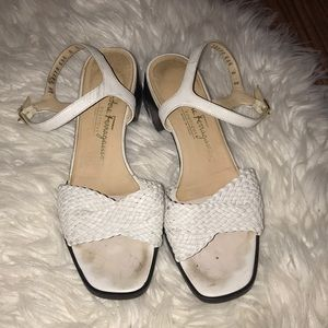 Salvatore size 8 woven Ankle strap white leather